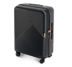 Średnia walizka z polikarbonu w paseczki, czarny, 56-3P-842-10, Zdjęcie 1