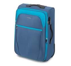 Średnia miękka walizka dwukolorowa, niebieski, V25-3S-232-95, Zdjęcie 1