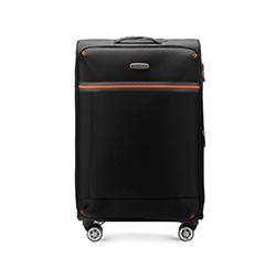 Średnia miękka walizka z kontrastową wstawką, czarny, 56-3S-492-10, Zdjęcie 1