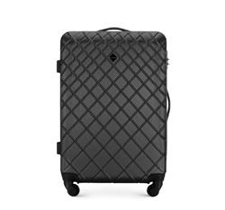 Średnia walizka z ABS-u w ukośną kratkę, stalowo - czarny, 56-3A-552-11, Zdjęcie 1