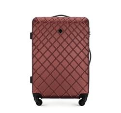 Średnia walizka z ABS-u w ukośną kratkę, bordowy, 56-3A-552-31, Zdjęcie 1