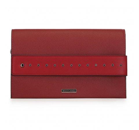 Torebka kopertówka duża z ćwiekami, czerwony, 91-4Y-712-3, Zdjęcie 1