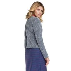 Żakiet damski bawełniany pudełkowy, granatowo - niebieski, 86-9W-103-7-M, Zdjęcie 1