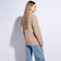 Żakiet damski wełniany w kratę, beżowy, 86-9W-107-9-XL, Zdjęcie 1