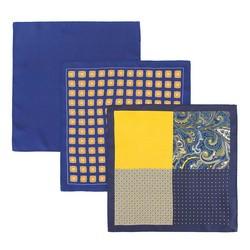 Zestaw trzech poszetek z jedwabiu, niebiesko - żółty, 92-7Z-001-X1, Zdjęcie 1