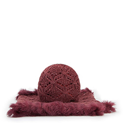 Women's hat + scarf, burgundy, 87-SF-005-2, Photo 1