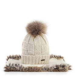 Women's hat and snood set, ecru-beige, 87-SF-006-0, Photo 1