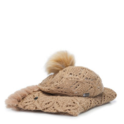 Women's snood and hat set, beige, 91-SF-001-F, Photo 1