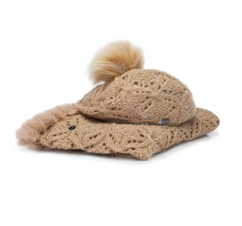 Women's snood and hat set, beige, 91-SF-001-1, Photo 1