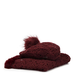Women's winter set: snood & hat, burgundy, 91-SF-002-2, Photo 1