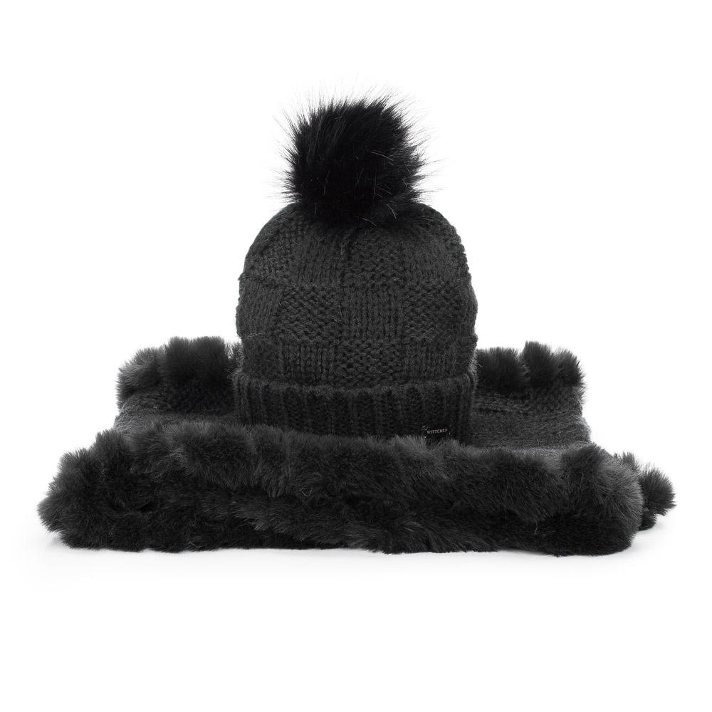 Elegantná čiapka a komín na zimu.