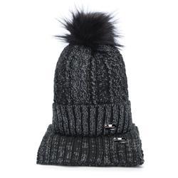Damski komplet zimowy o warkoczowym splocie, czarno - srebrny, 93-SF-002-1, Zdjęcie 1