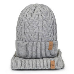 Men's winter cable knit hat and scarf, grey, 93-SF-004-8, Photo 1