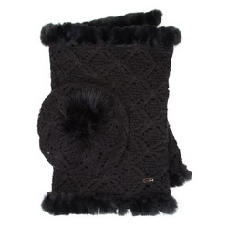 Women's snood and hat set, black, 91-SF-001-1, Photo 1