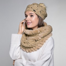 Women's snood and hat set, beige - silver, 91-SF-001-F, Photo 1