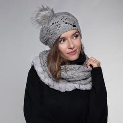 Women's winter set: snood & hat, grey, 91-SF-002-8, Photo 1
