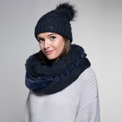 Women's winter set: snood&hat, navy blue, 91-SF-003-7, Photo 1