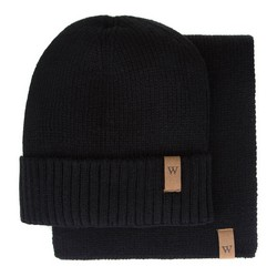 Men's winter wool hat and scarf, black, 93-SF-003-1, Photo 1