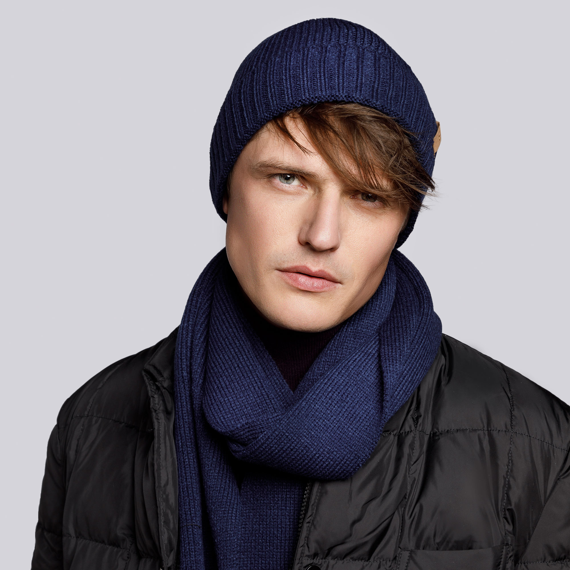 Men's winter wool hat and scarf, navy blue, 93-SF-003-7, Photo 1