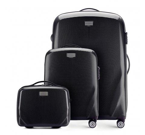Чемодан ручная кладь + большой чемодан + косметичка 56-3P-571_3_4-10