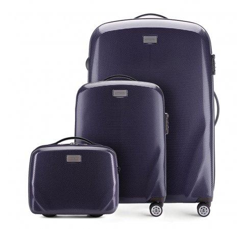 Чемодан ручная кладь + большой чемодан + косметичка 56-3P-571_3_4-90