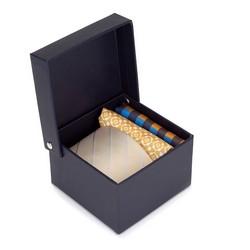 Zestaw krawat i dwie poszetki z jedwabiu, beżowo - niebieski, 92-7Z-002-X1, Zdjęcie 1