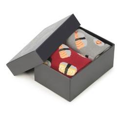 Zestaw skarpet męskich, szaro - czerwony, 90-SK-002-X1-43/45, Zdjęcie 1