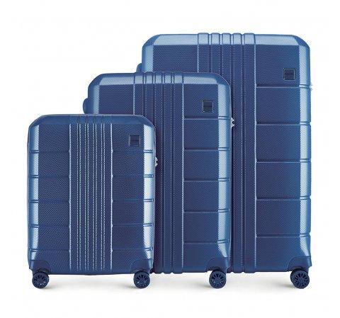Zestaw walizek, granatowy, 56-3P-82S-95, Zdjęcie 1