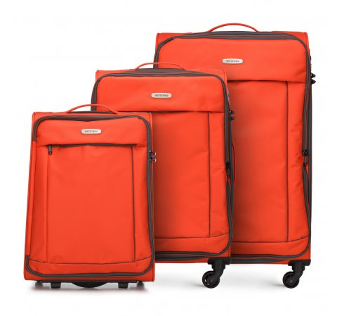 Zestaw walizek, pomarańczowo - czarny, 56-3S-46S-12, Zdjęcie 1