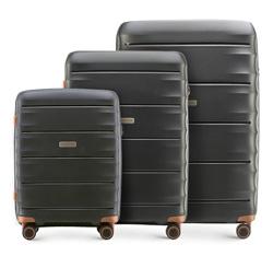 Zestaw walizek, czarno - brązowy, 56-3T-76S-10, Zdjęcie 1