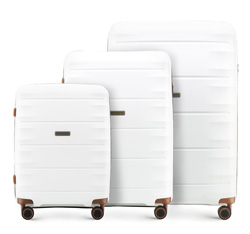 Zestaw walizek, biało - brązowy, 56-3T-76S-88, Zdjęcie 1