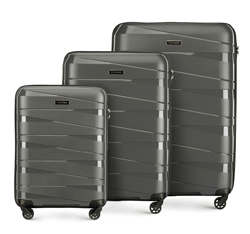Zestaw walizek z polipropylenu z geometrycznymi tłoczeniami, szary, 56-3T-79S-00, Zdjęcie 1