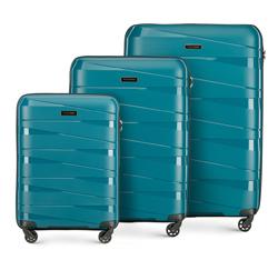 Zestaw walizek z polipropylenu z geometrycznymi tłoczeniami, morski, 56-3T-79S-85, Zdjęcie 1