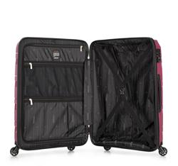 Zestaw walizek z polipropylenu z geometrycznymi tłoczeniami, zgaszony róż, 56-3T-79S-35, Zdjęcie 1