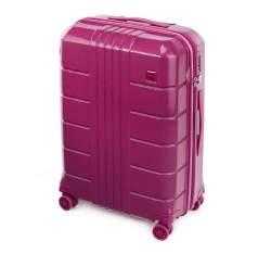 Zestaw walizek z polikarbonu żłobionych, różowy, 56-3P-82S-60, Zdjęcie 1