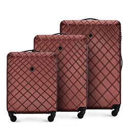 Zestaw walizek z ABS-u z deseniem, bordowy, 56-3A-55S-31, Zdjęcie 1