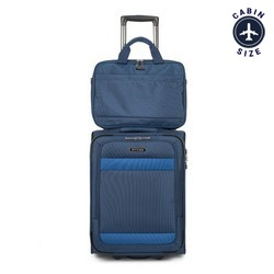 Small suitcase + laptop bag, navy blue, 56-3S-580-90, Photo 1