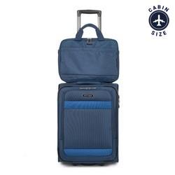 Zestaw walizka + torba, granatowy, 56-3S-580-90, Zdjęcie 1