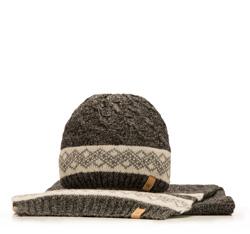 Komplet czapka + szalik, szaro - czarny, 85-SF-200-1, Zdjęcie 1