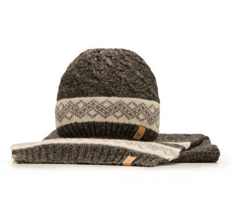 Komplet czapka + szalik, szaro - czarny, 85-SF-200-8, Zdjęcie 1