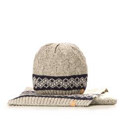 Komplet czapka + szalik, szary, 85-SF-200-8, Zdjęcie 1