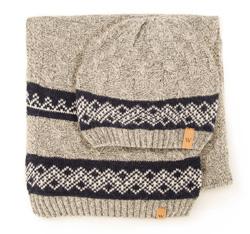 Men's hat + scarf, grey, 85-SF-200-8, Photo 1